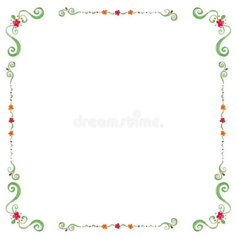 与空间的水彩花卉框架您的文本的 图库摄影