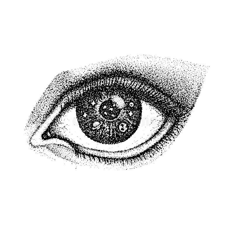 与空间的Dotwork眼睛 向量例证