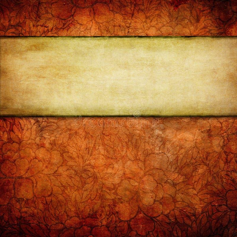 与空间的Grunge花卉背景文本的 皇族释放例证