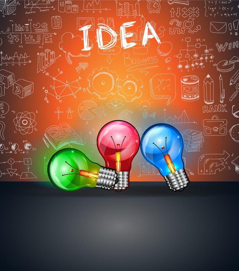 与空间的概念性电灯泡想法backgroud文本和3盏五颜六色的灯的 库存例证
