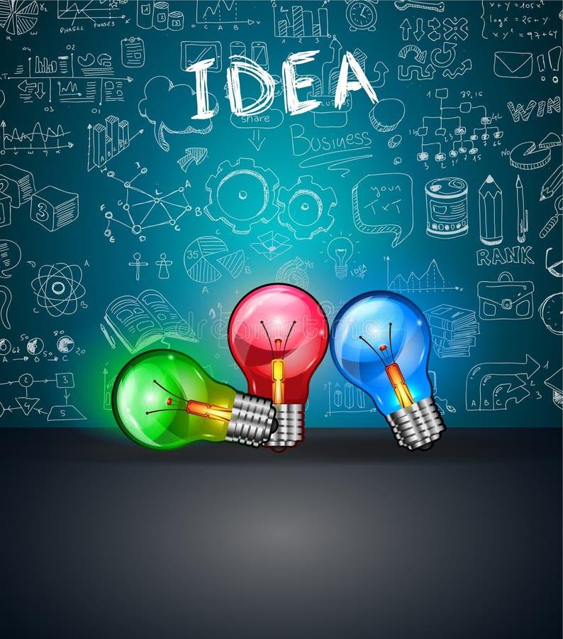 与空间的概念性电灯泡想法backgroud te的 皇族释放例证