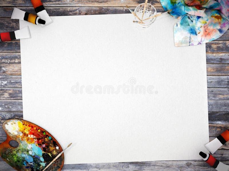 与空间的空的白色大字报嘲笑的在与色板显示、油漆刷和油漆颜色的木背景 向量例证