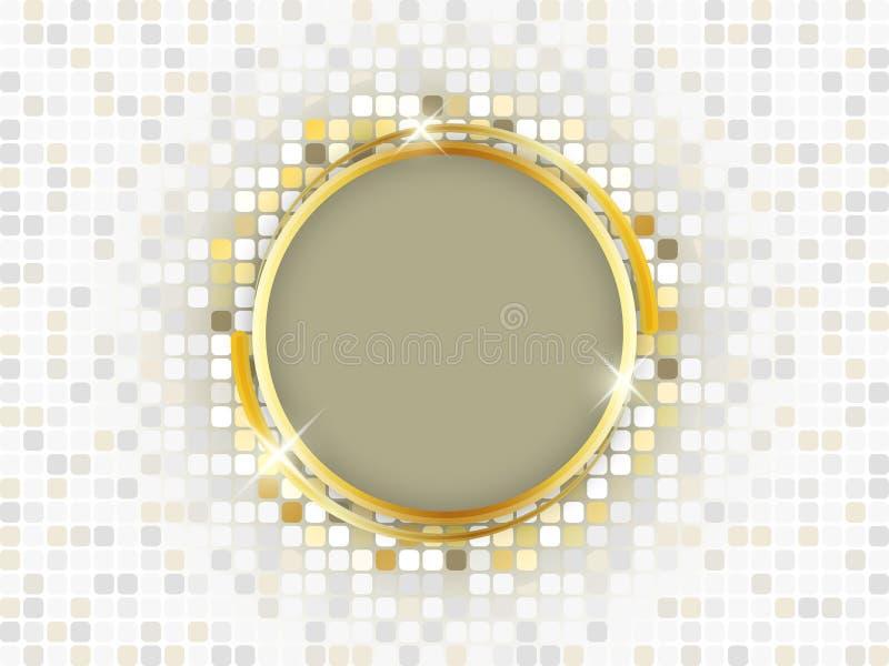 与空间的金戒指在马赛克背景的文本的 向量例证