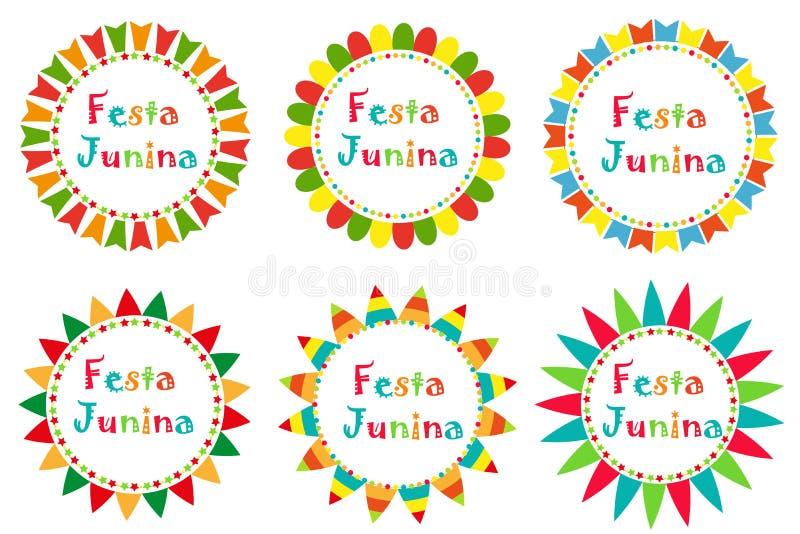 与空间的Festa Junina集合框架文本的 您的设计的巴西人拉丁美洲的节日空白模板,被隔绝 皇族释放例证