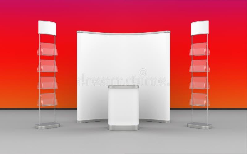 与突然出现立场、文学立场和显示柜台的陈列设计 向量例证