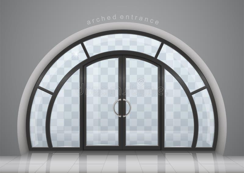 与窗口的被成拱形的门 库存例证