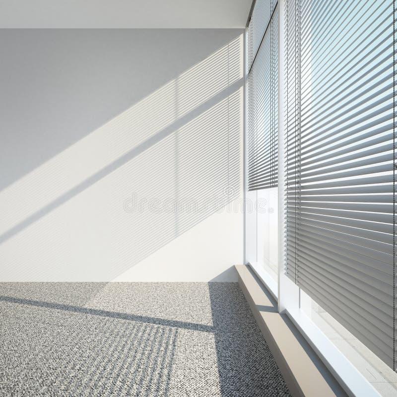 与窗帘的白色空的内部 库存例证