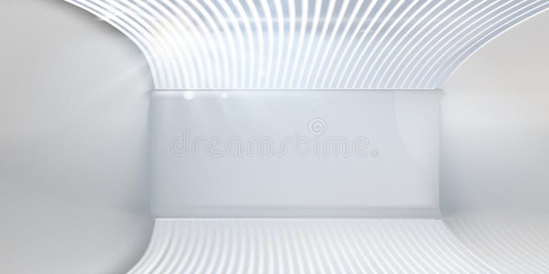 与窗帘的空的白色内部 r 库存例证