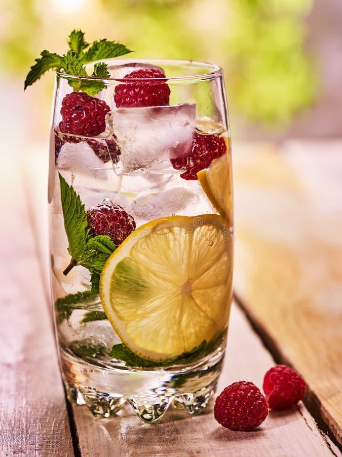与立方体冰玻璃的莓mojito 室外 库存照片