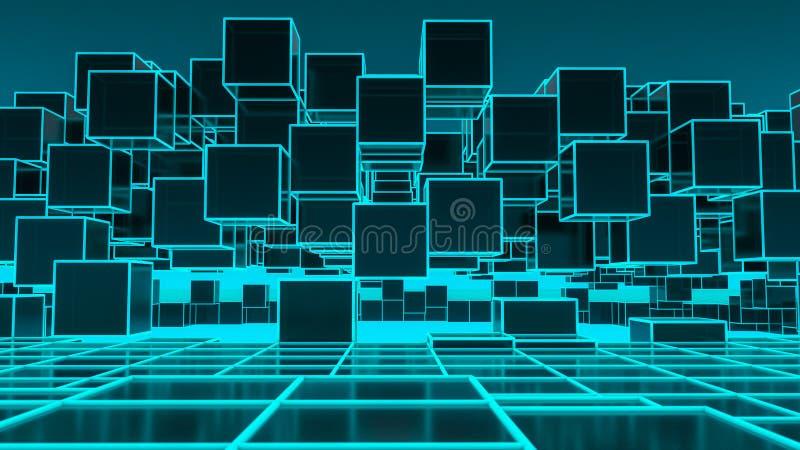 与立方体的一个未来派背景图象 向量例证