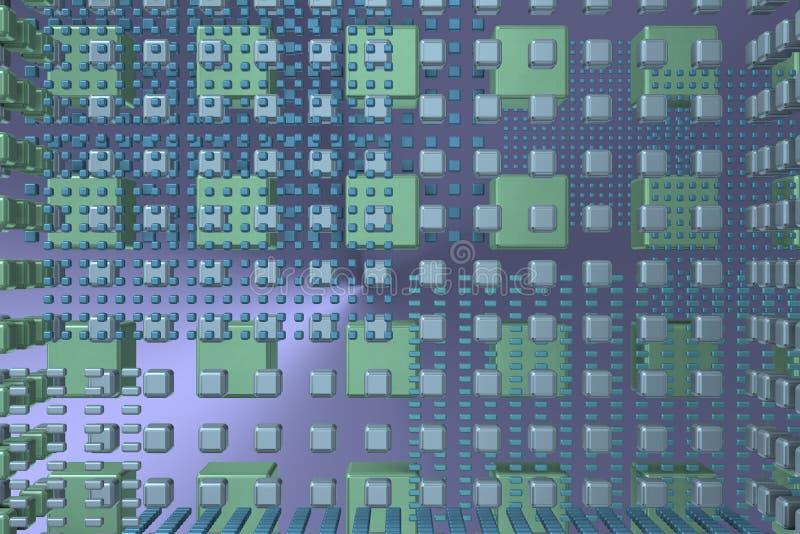 与立方体的蓝色技术背景 免版税库存照片
