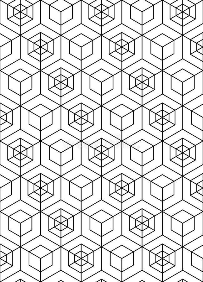与立方体的虚幻的抽象几何无缝的样式 向量 库存例证