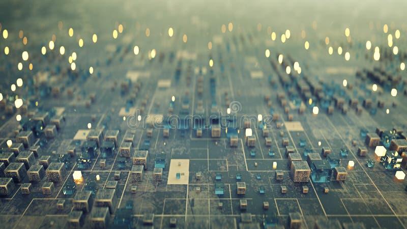 与立方体3D翻译的未来派科学幻想小说表面 库存例证