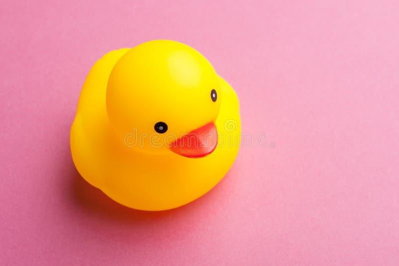 与站立从共同黄色部分的一只桃红色橡胶鸭子的另外社会排斥概念 免版税库存照片
