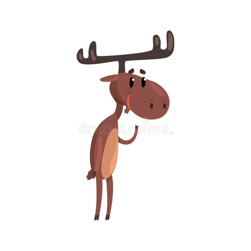 与站立在两条腿的鹿角的逗人喜爱的滑稽的鹿漫画人物导航在白色背景的例证 向量例证