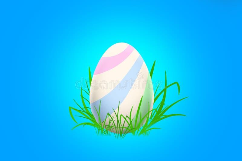 与站立在草的淡色条纹的复活节彩蛋 库存照片