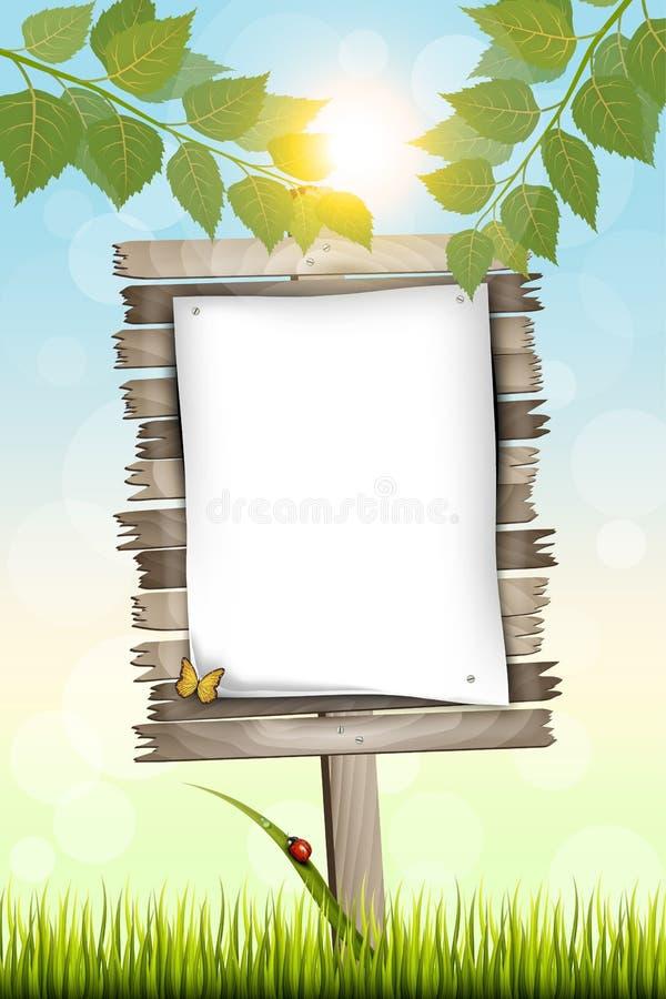 与站立在草的白色纸片的木广告牌 免版税库存图片