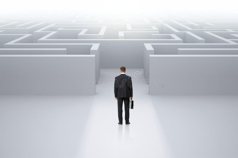 与站立在迷宫前面的案件的商人 免版税库存图片