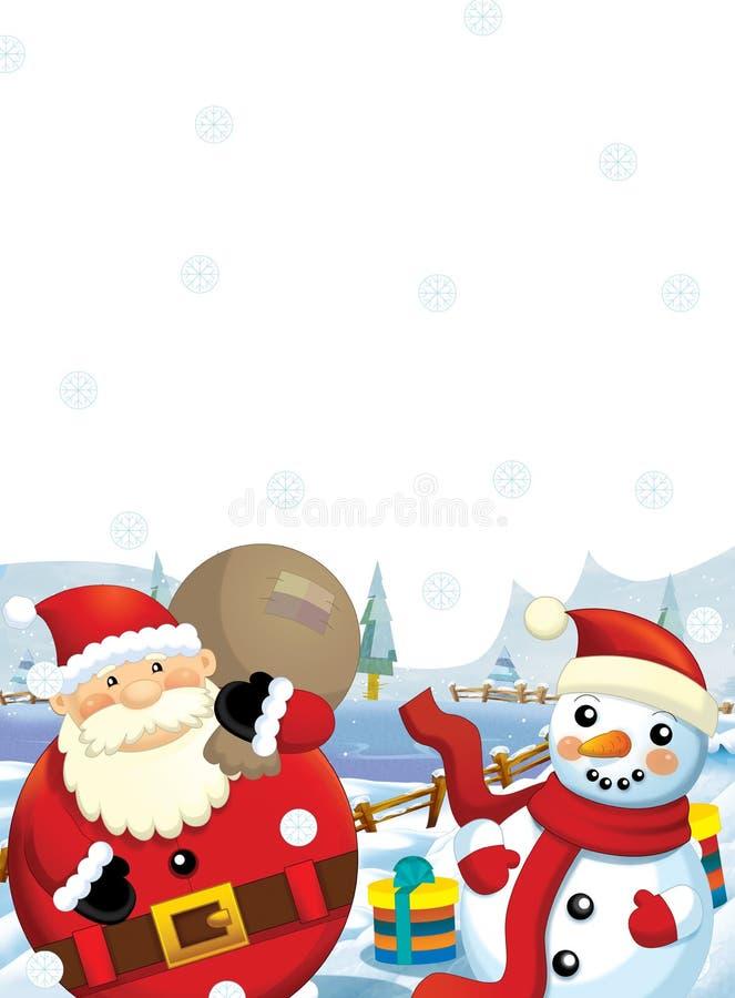 与站立的礼物的圣诞老人雪人和微笑的-礼物-愉快的雪人-圣诞节设计 库存例证