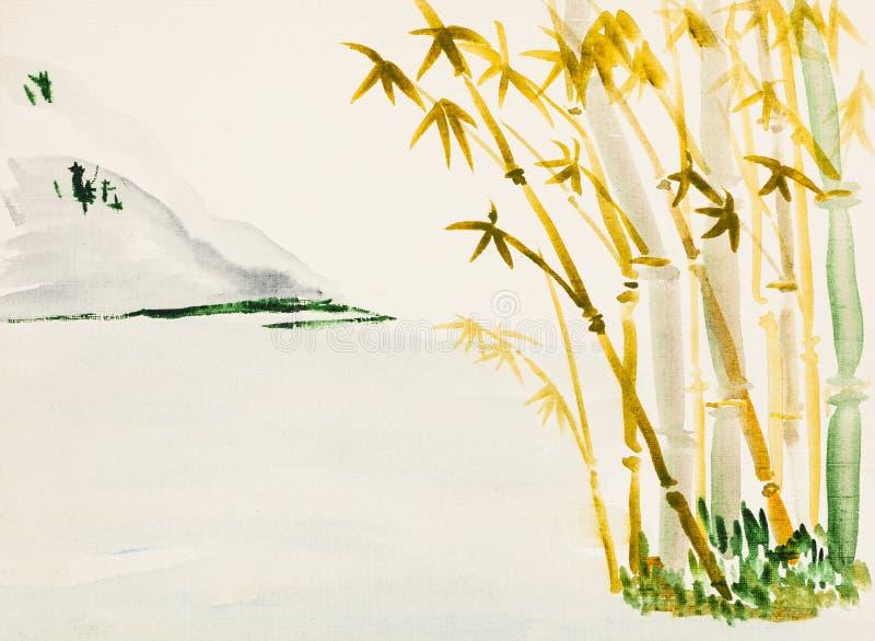 与竹树丛和山的风景 皇族释放例证