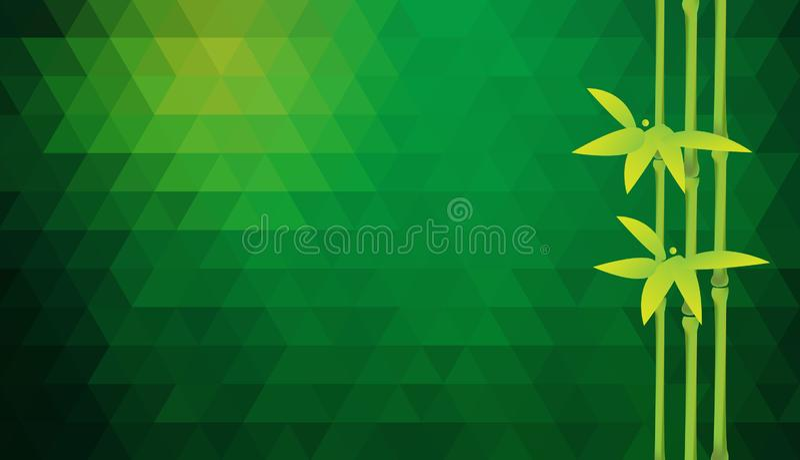 与竹树干的传染媒介绿色三角背景 皇族释放例证