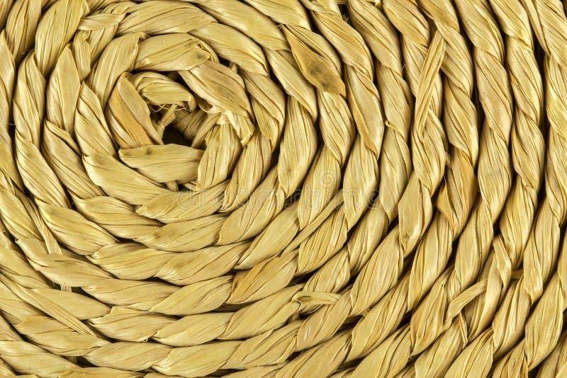 与竹纤维的螺旋技艺关闭纹理 免版税库存图片