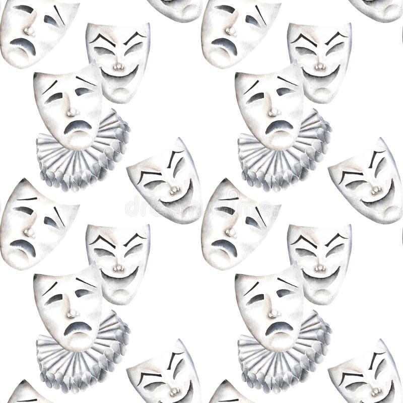 与笑声和悲伤情感剧院面具的无缝的样式  向量例证