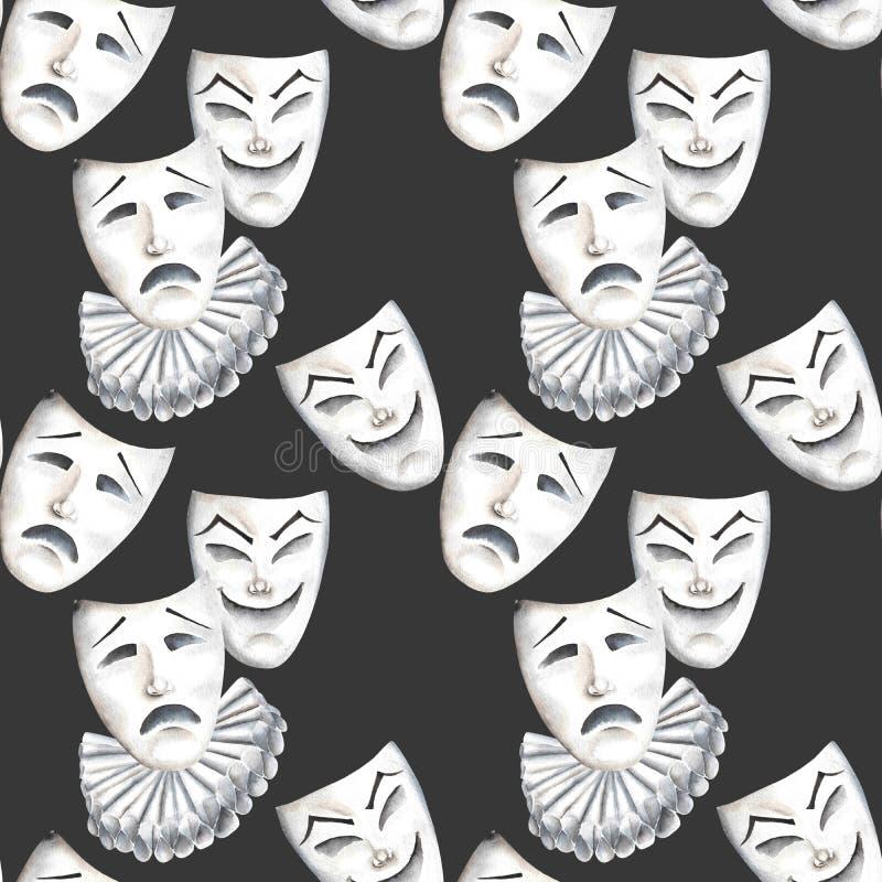 与笑声和悲伤情感剧院面具的无缝的样式  库存例证