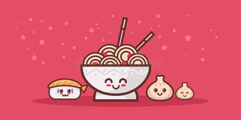 与笑容愉快的emoji kawaii样式亚洲人的逗人喜爱的面条拉面碗寿司和饺子集合动画片喜剧人物 向量例证