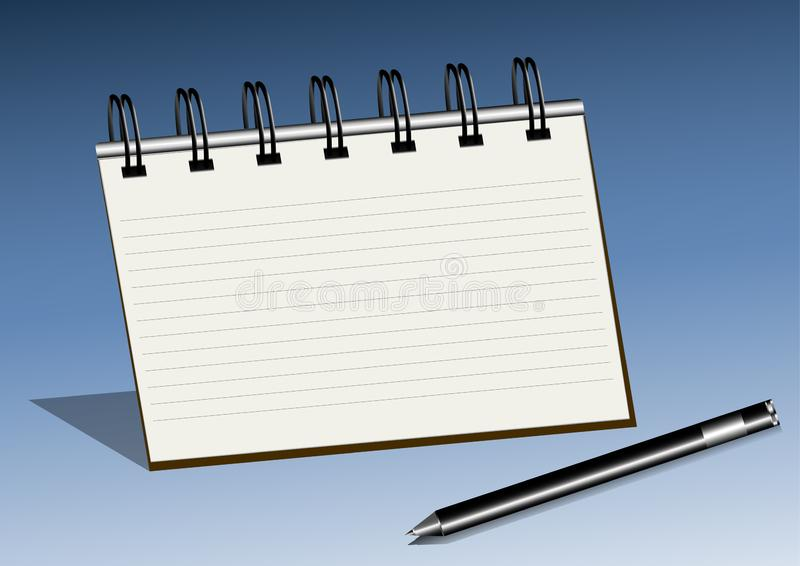 与笔传染媒介例证的笔记薄 库存例证