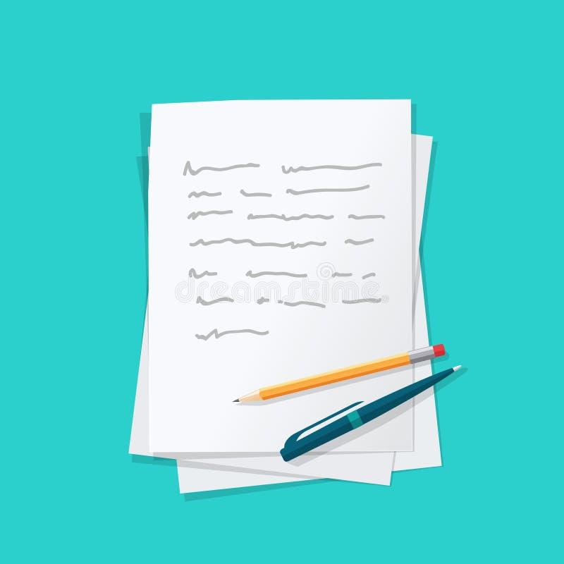 与笔和铅笔传染媒介的纸板桩摘要文本 库存例证