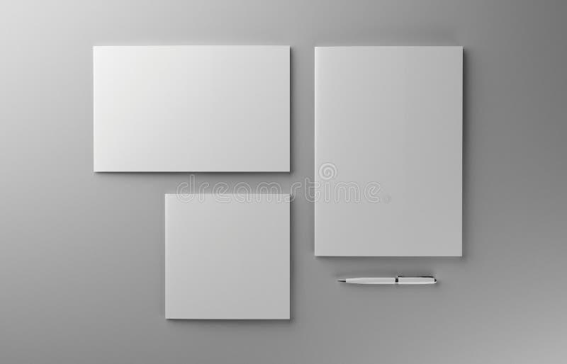 与笔大模型的空白的照片拟真的小册子在浅灰色的背景, 3d例证 库存例证
