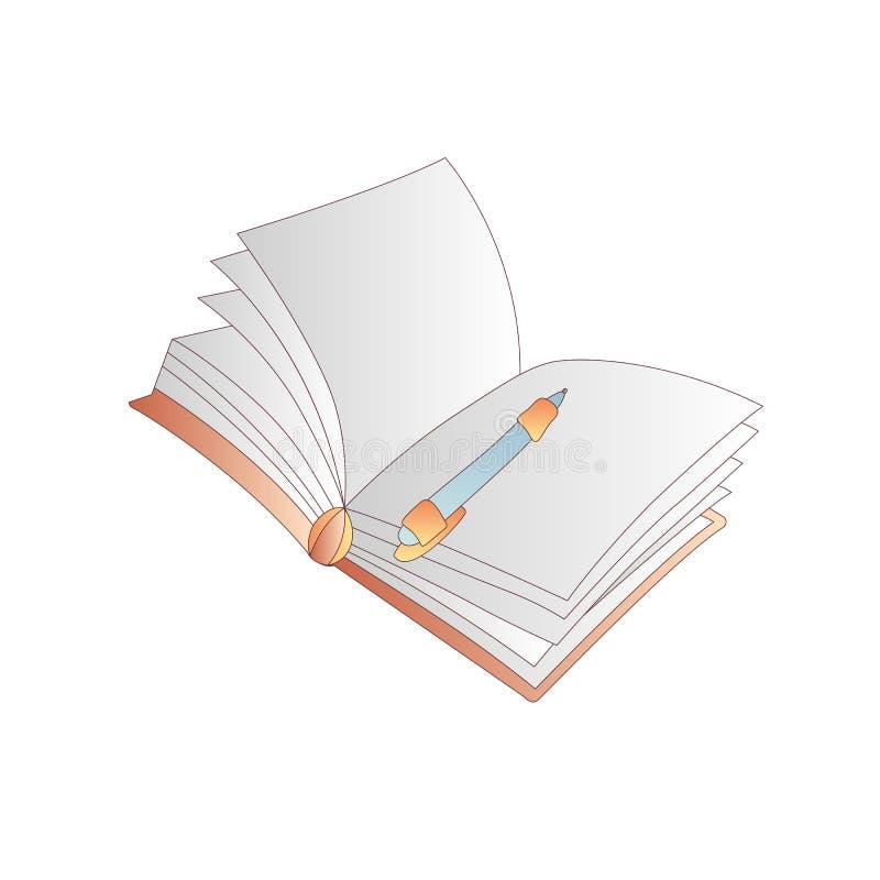 与笔的逗人喜爱的动画片传染媒介书、笔记本、日志和学报象 动画片预定象 教科书象,学院 库存例证