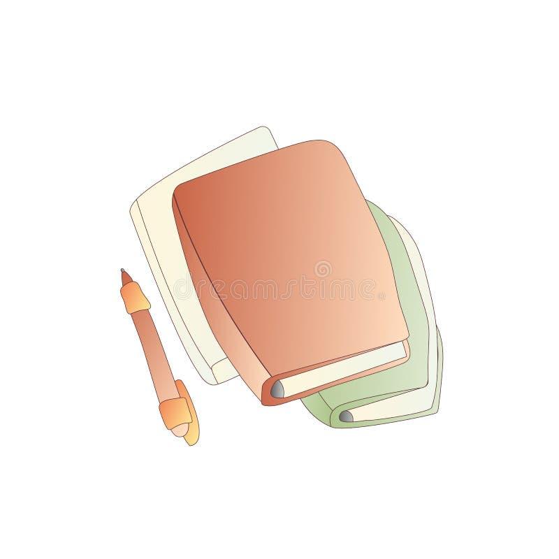 与笔的逗人喜爱的动画片传染媒介书、笔记本、日志和学报象 动画片预定象 教科书象,学院 向量例证