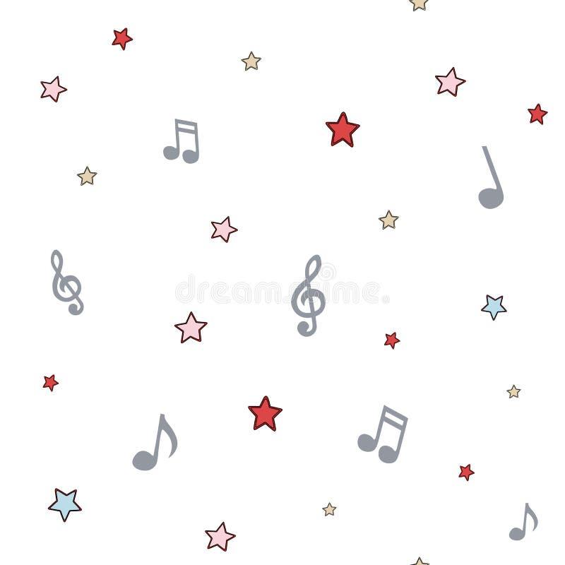 与笔记和星,色的无缝的样式的音乐背景 库存例证