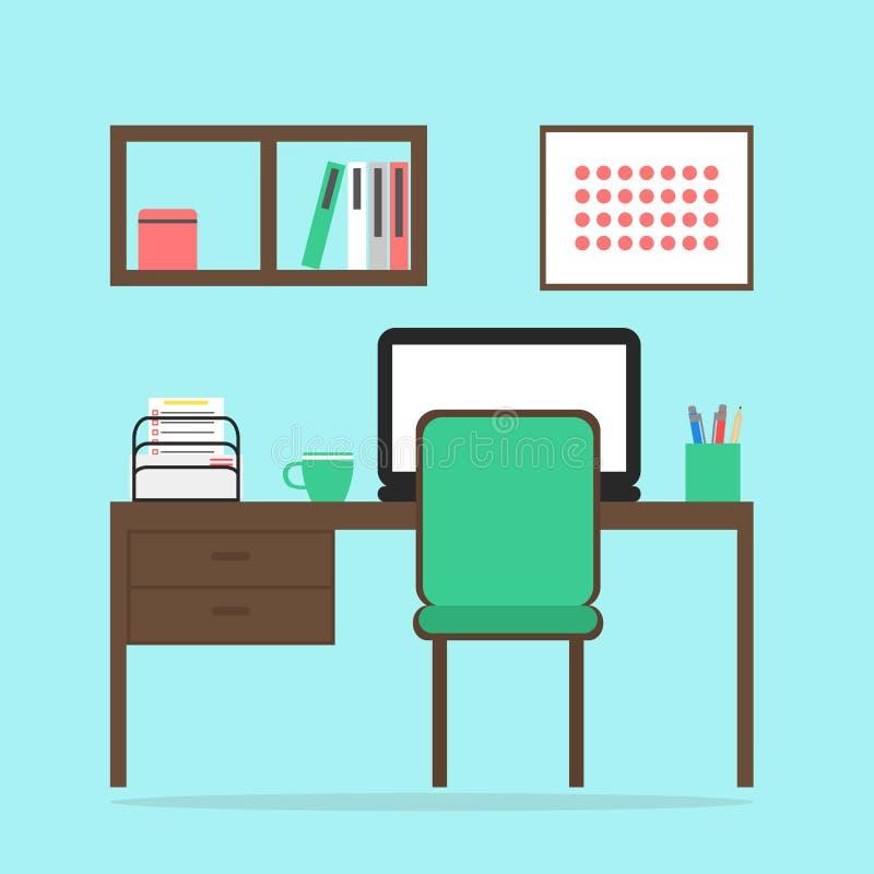 与笔记本、椅子、桌、书架和图片的工作空间内部 向量例证