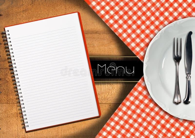 与笔记本和白色板材的菜单 皇族释放例证