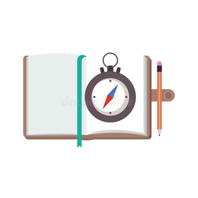 与笔记本的指南针指南 库存例证