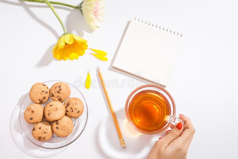 与笔记本键盘,写生簿,日志,在w的咖啡的工作区 库存图片