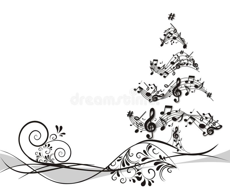 与笔记的圣诞树 库存例证