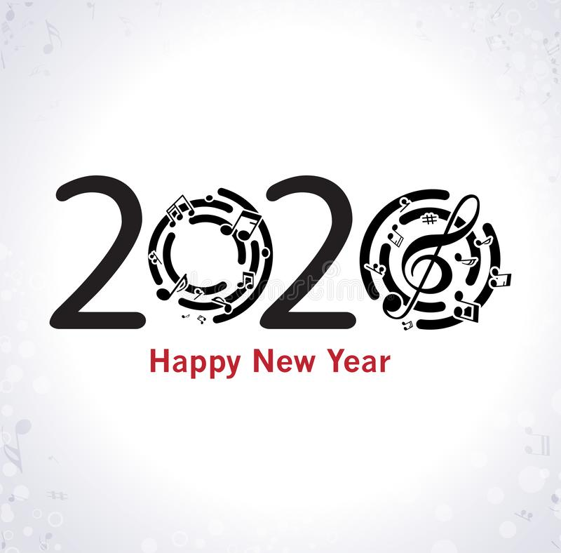 与笔记的音乐新年快乐背景 皇族释放例证
