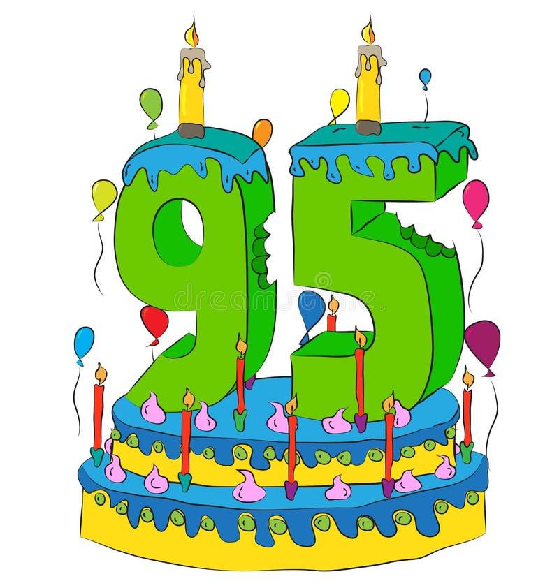 95与第九十五的生日蛋糕对光检查,庆祝九十第五年生活,五颜六色的气球和巧克力涂层 向量例证