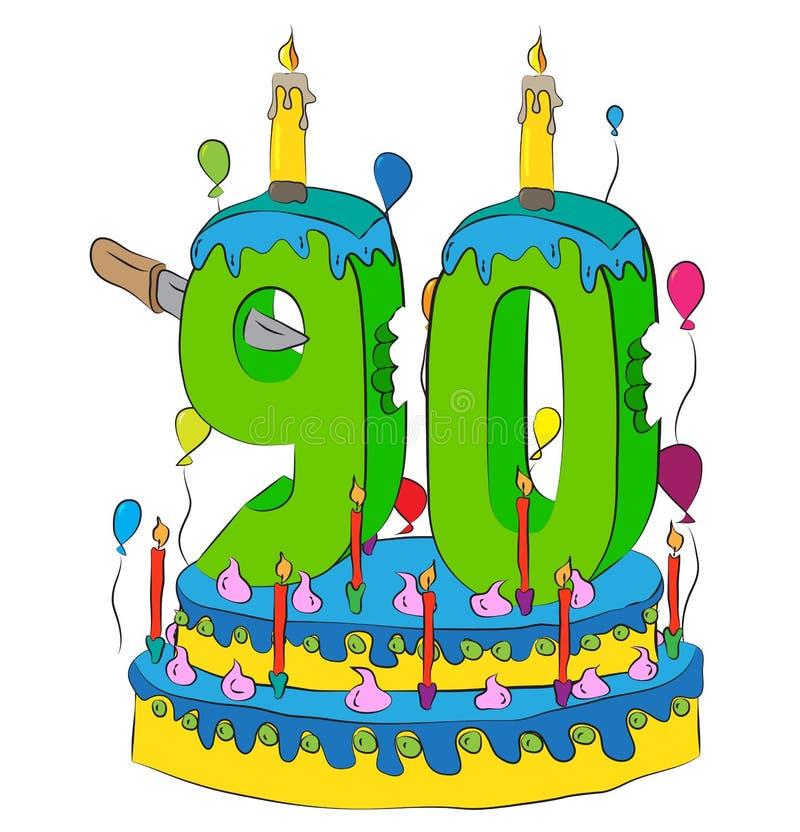 90与第九十的生日蛋糕对光检查,庆祝第十九个年生活,五颜六色的气球和巧克力涂层 库存例证