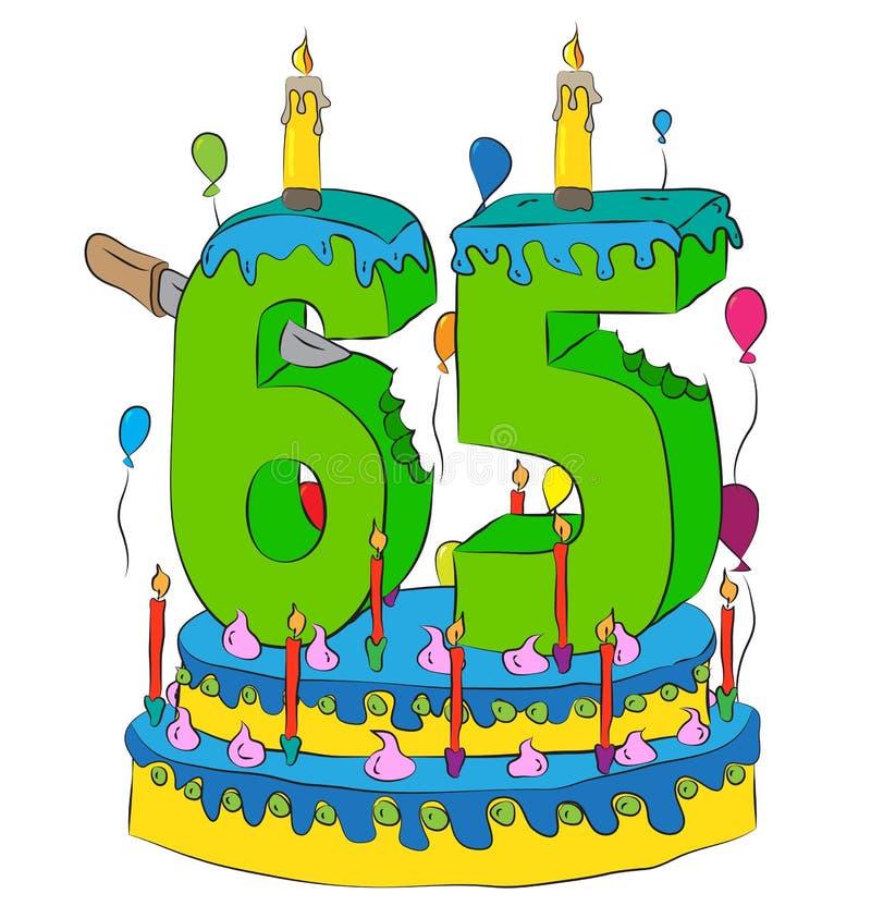 65与第六十五的生日蛋糕对光检查,庆祝第六十五年生活,五颜六色的气球和巧克力涂层 皇族释放例证