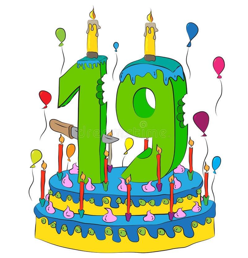 与第十九的生日蛋糕对光检查,庆祝第十九年生活,五颜六色的气球和巧克力涂层 库存例证