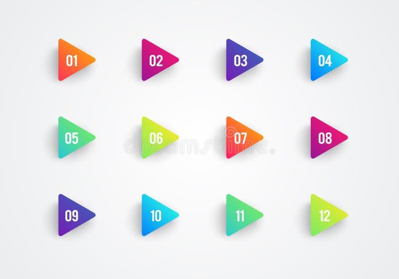 与第1到12的传染媒介箭头子弹点三角旗子五颜六色的梯度3d标志 皇族释放例证
