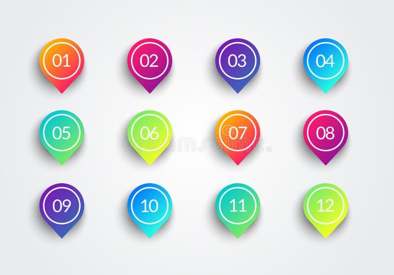 与第1到12的传染媒介箭头子弹点五颜六色的梯度3d标志 向量例证