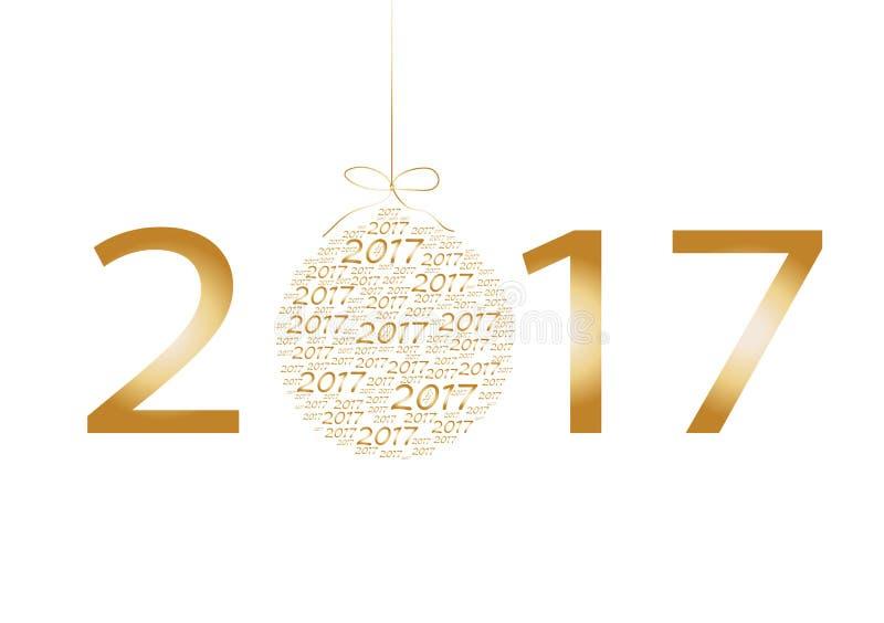 与第2017年海报,邀请,飞行物的新年快乐和圣诞快乐卡片 也corel凹道例证向量 库存例证