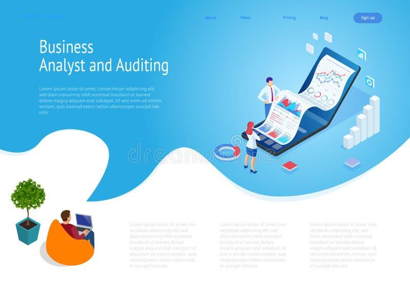 与等量企业和财务分析家的登陆的页,分析关键性能指标,企业数据分析家 向量例证