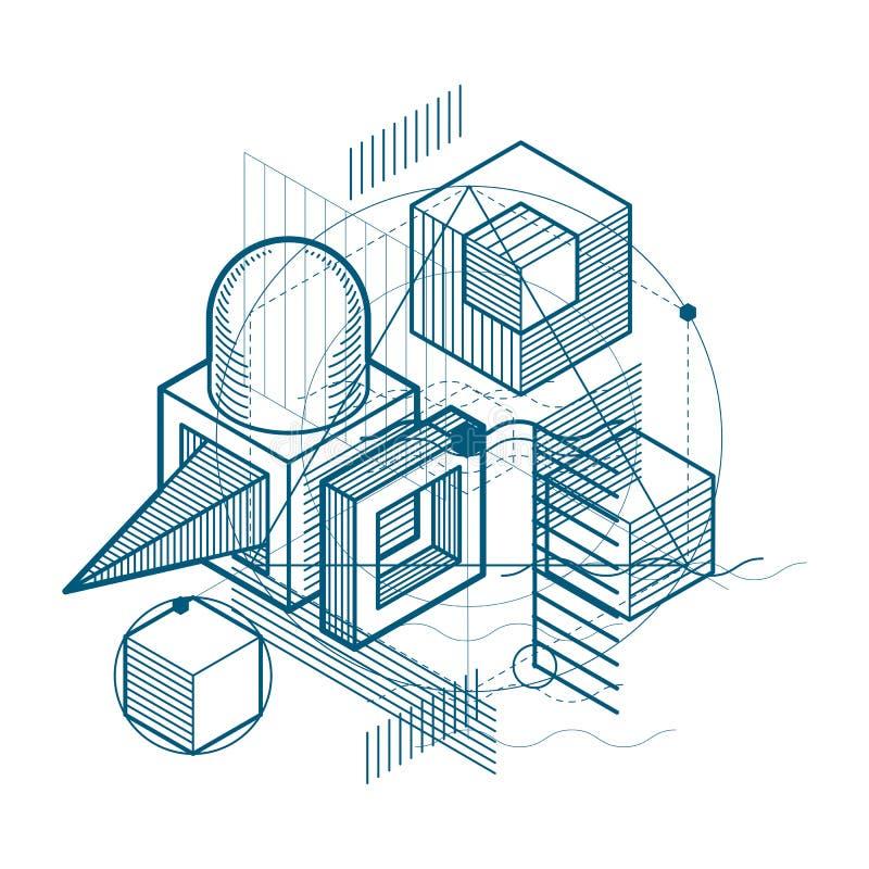 与等量元素的抽象背景,导航与线和形状的线性艺术 立方体,六角形,正方形,长方形和 向量例证